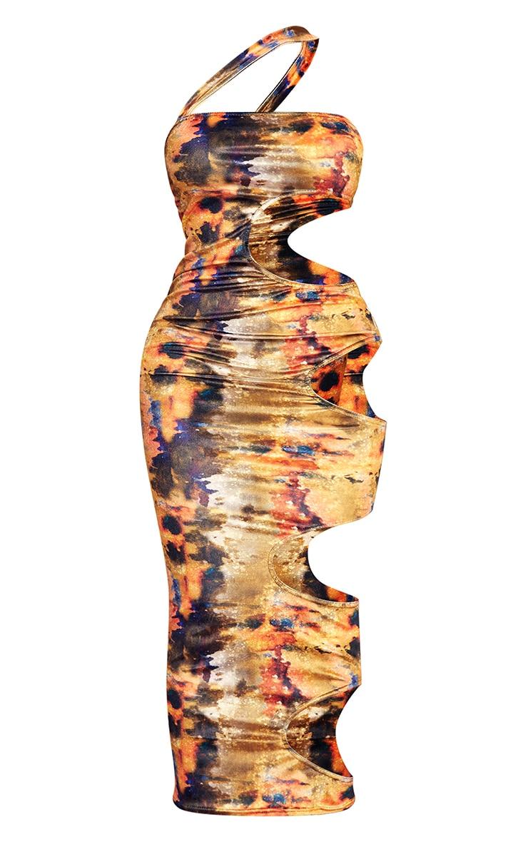 Shape Multi Tie Dye Velvet Cut Out Side Midaxi Dress 5