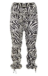 Zebra Print Ruched Leg Dip Waist Pants 5