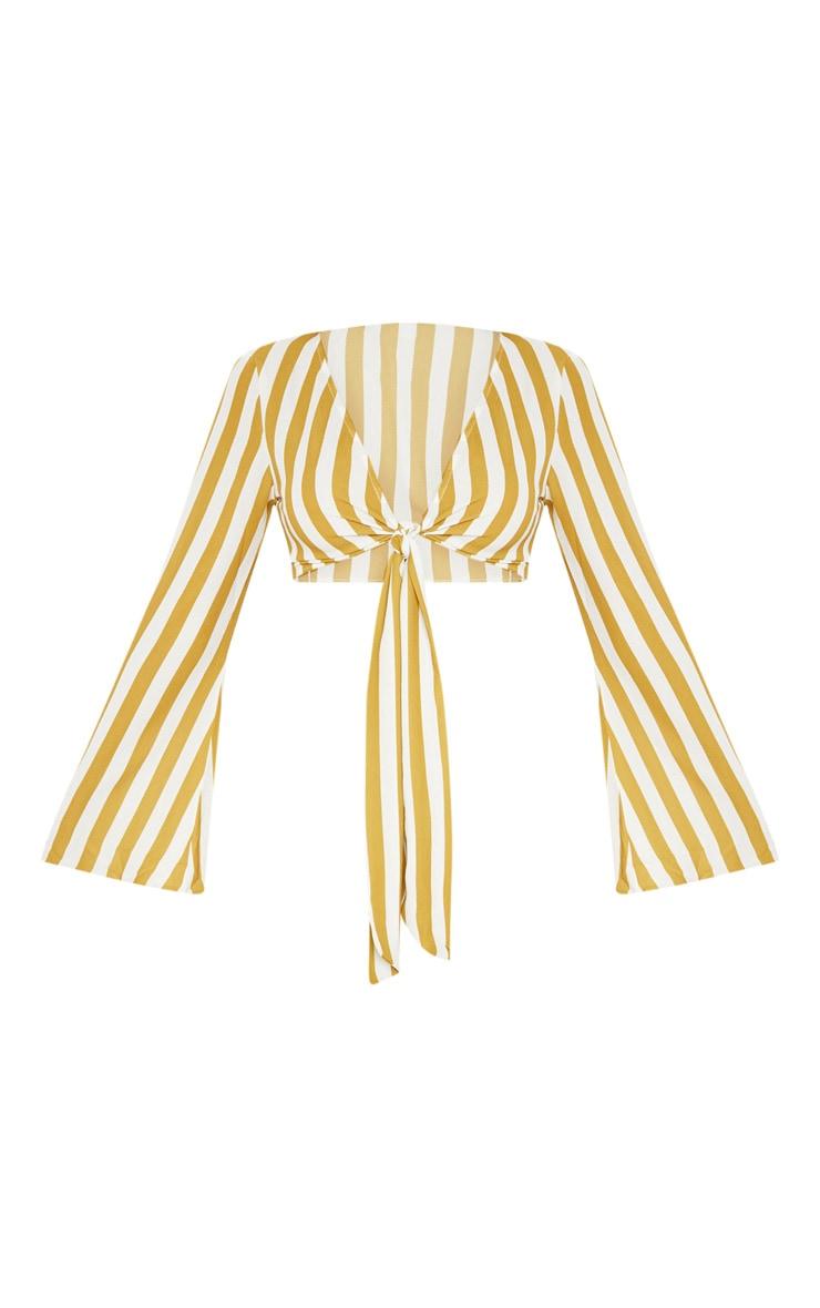 Mustard Flute Sleeve Tie Front Stripe Blouse 3