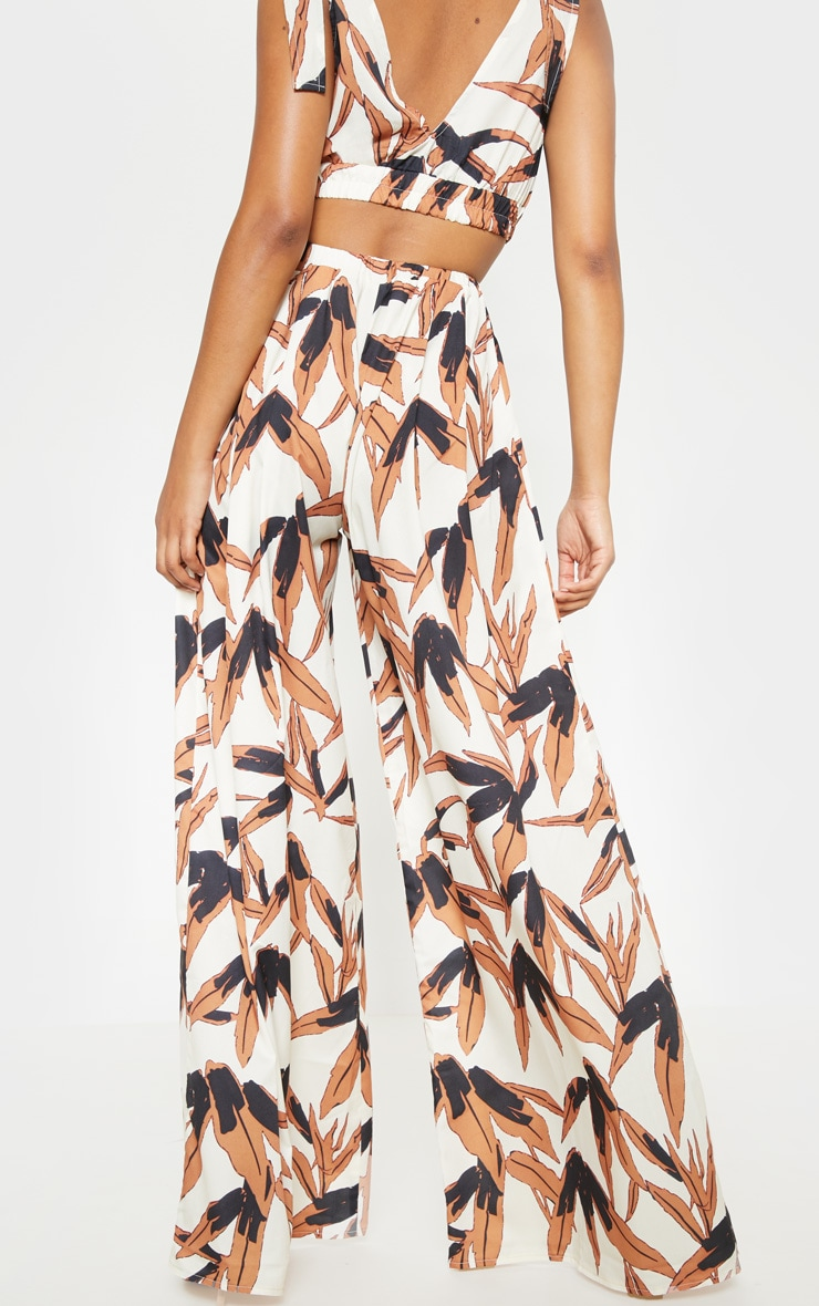 Black Tropical Print Wide Leg Trousers 2