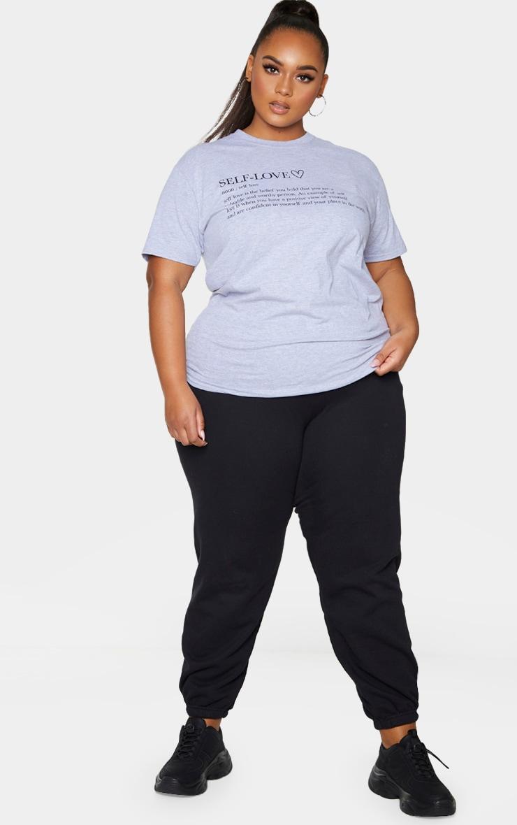 Plus Grey Self Love Slogan T-Shirt 3