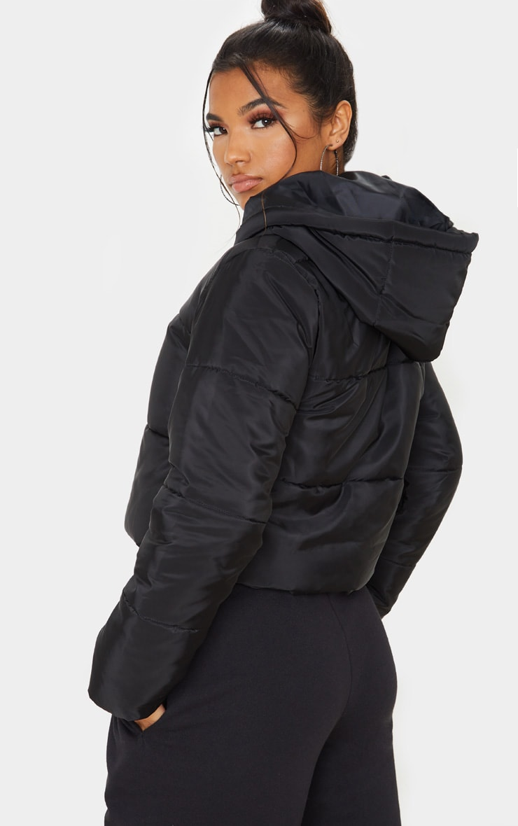 Black Hooded Cropped Puffer 2