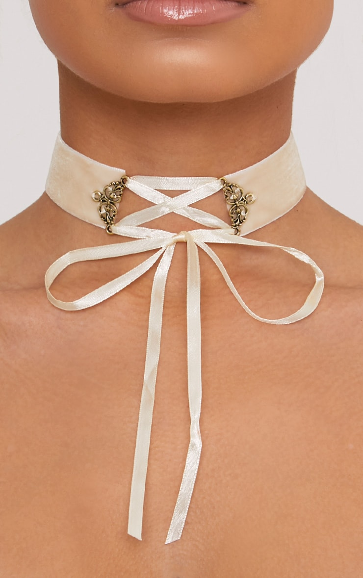 Maxime Cream Velvet Lace Up Choker 1