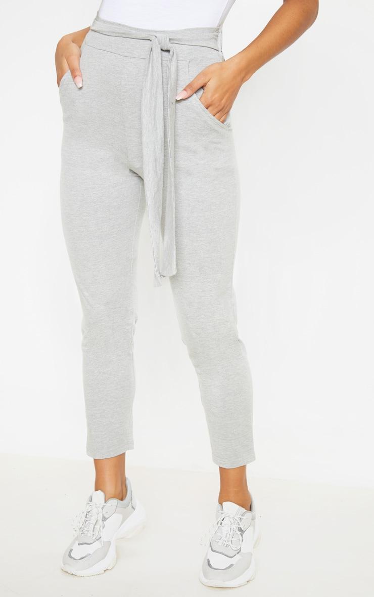 Grey Cotton Tie Waist Skinny Trouser 2