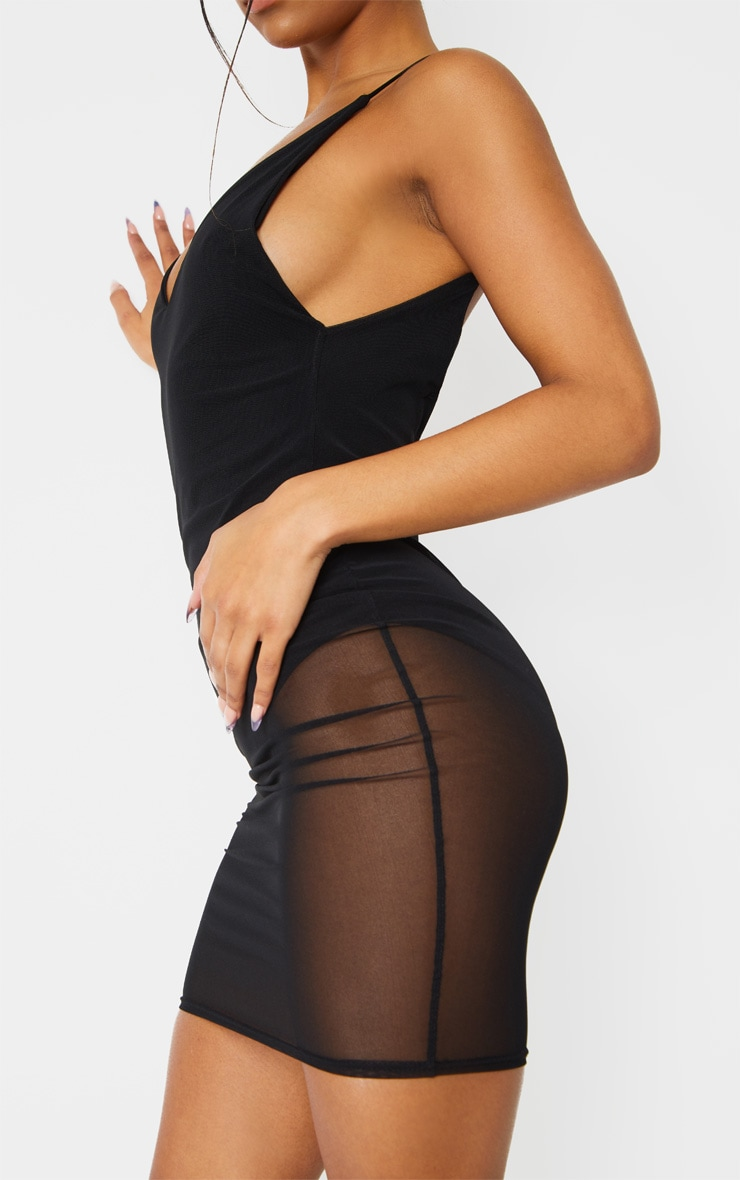 Kyiah Black Mesh Overlay Bodycon Dress 4