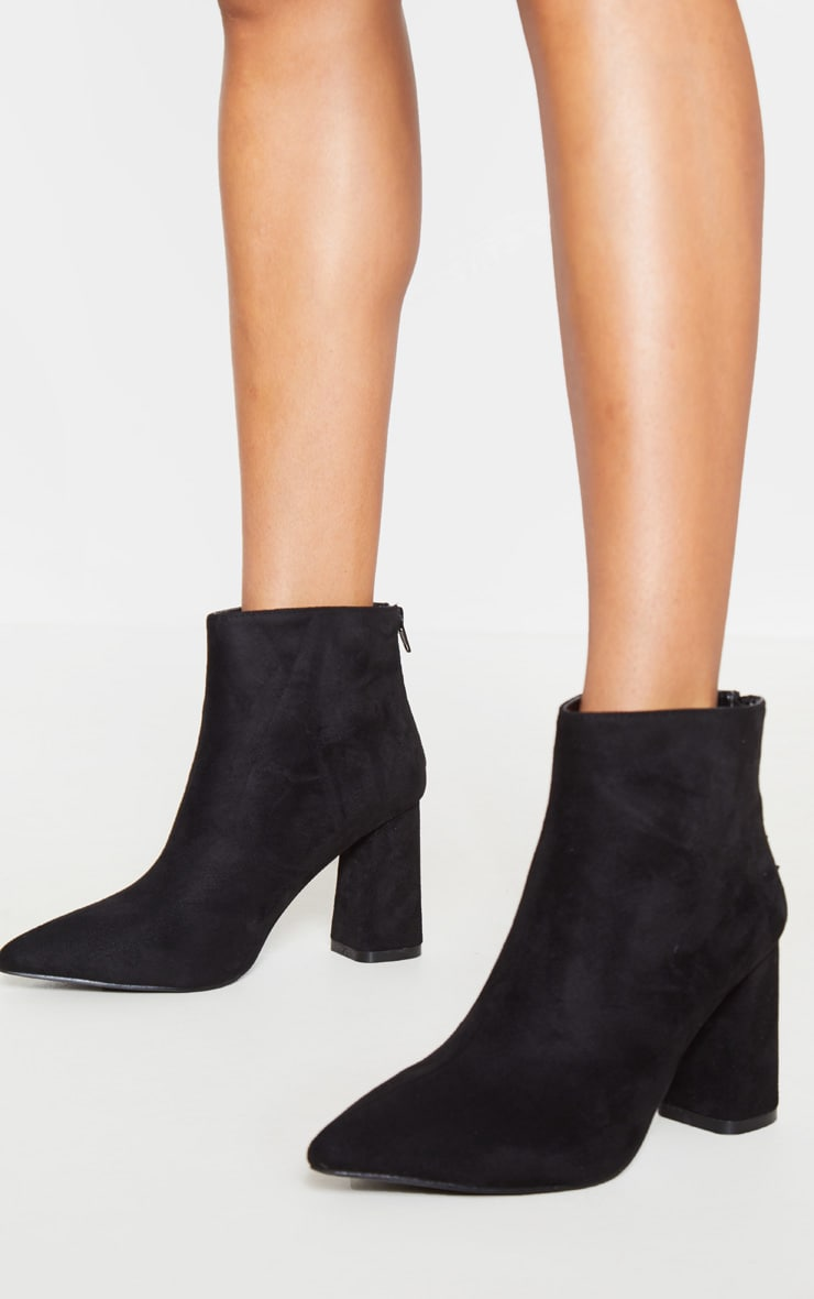 Black Wide Fit Zip Back Ankle Boot 1