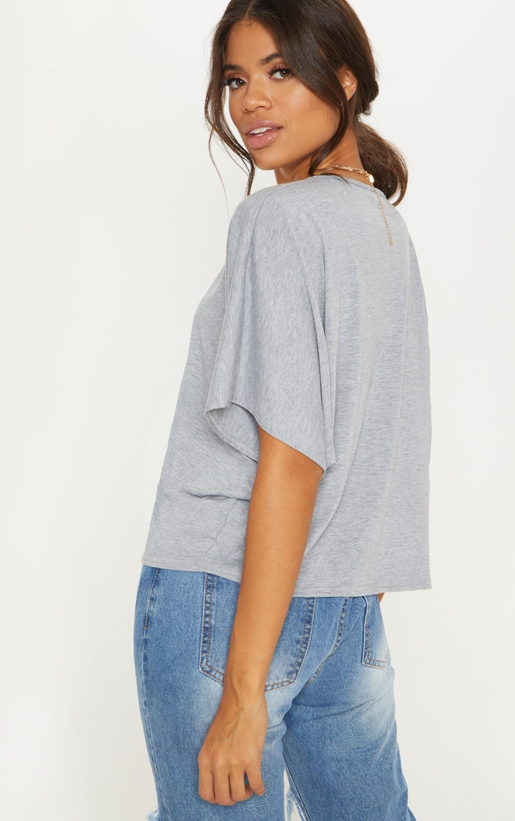 Basic Grey Jersey Batwing T shirt 2