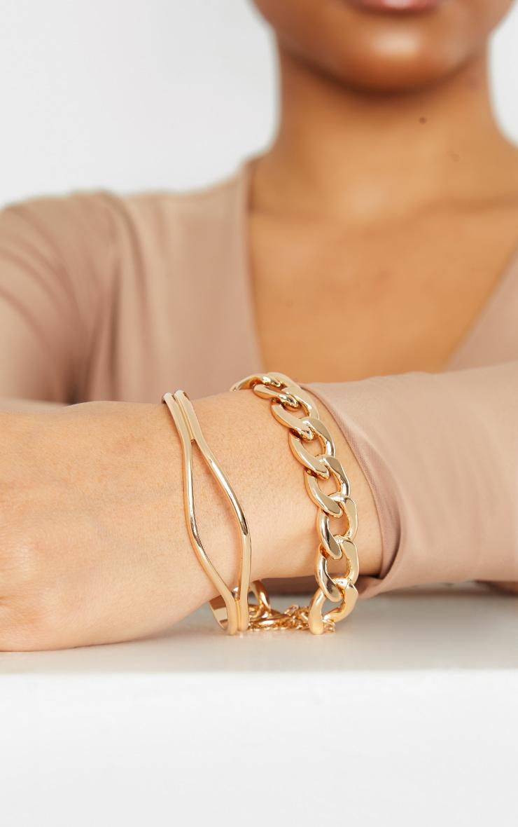 Bracelets assortis dorés à chaîne chunky 1