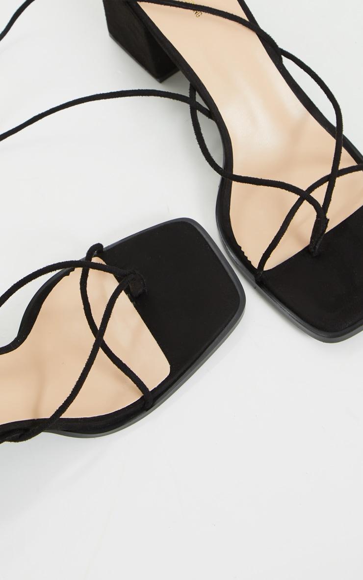 Black Square Toe Block Heel Strappy Toe Thong Sandals 4