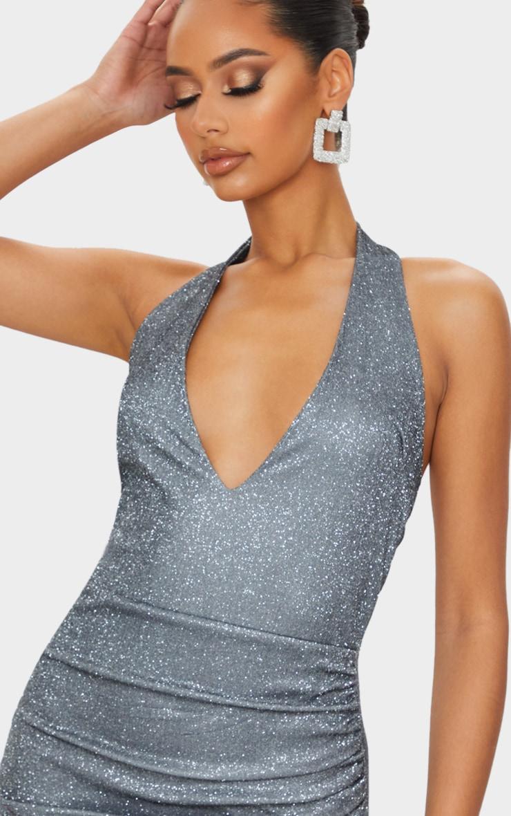 Silver Glitter Halterneck Ruched Wrap Skirt Bodycon Dress 4