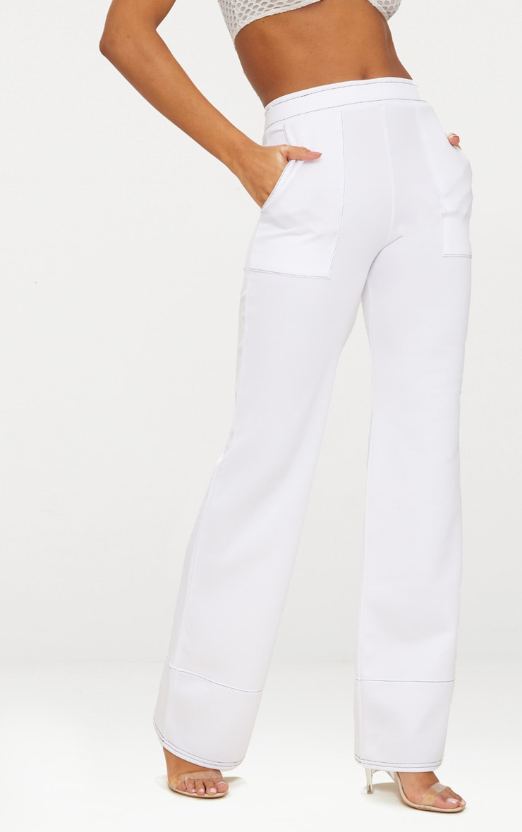 White Contrast Stitch Extreme Flare Long Leg Trousers 2