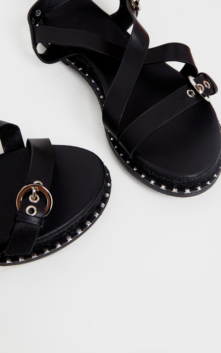 Black Chunky Sole Strappy Sandal 3