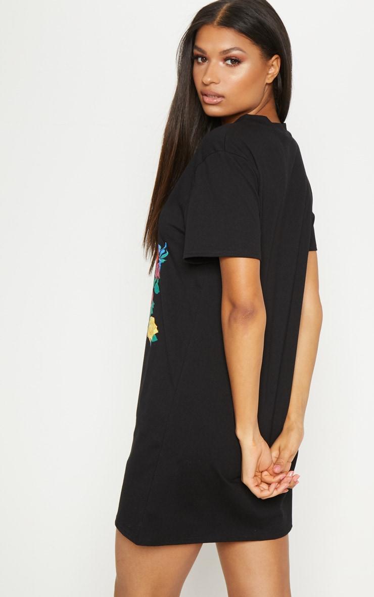 Black Floral Renaissance Portrait Print T Shirt Dress 2