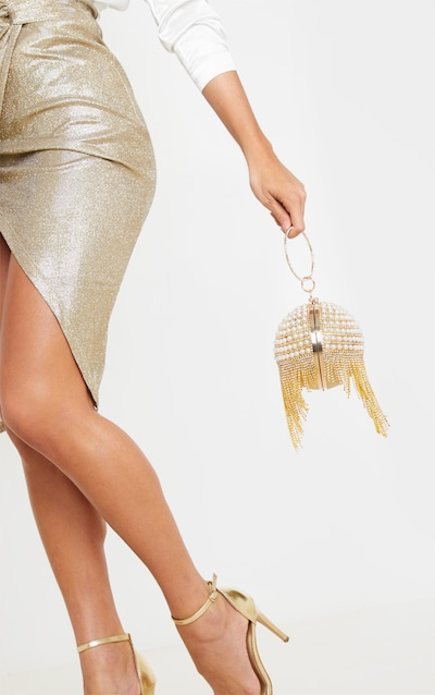 Gold Diamante And Pearl Large Sphere Bag