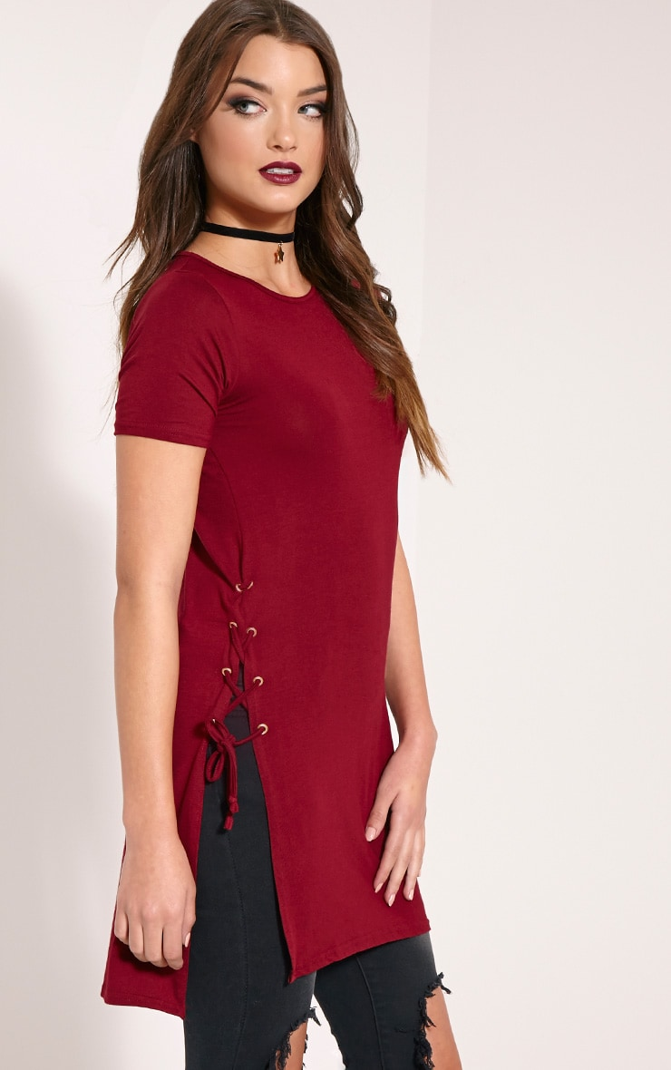 Andromeda Wine Eyelet Tie Side Jersey T-Shirt 1