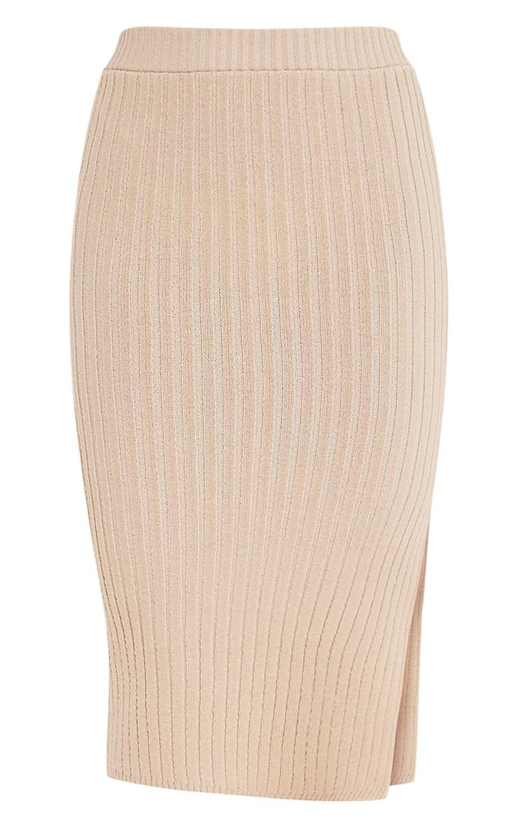 Usmelda Stone Ribbed Knitted Midi Skirt 3