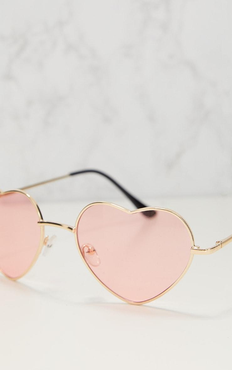 Pink Metal Heart Sunglasses 3