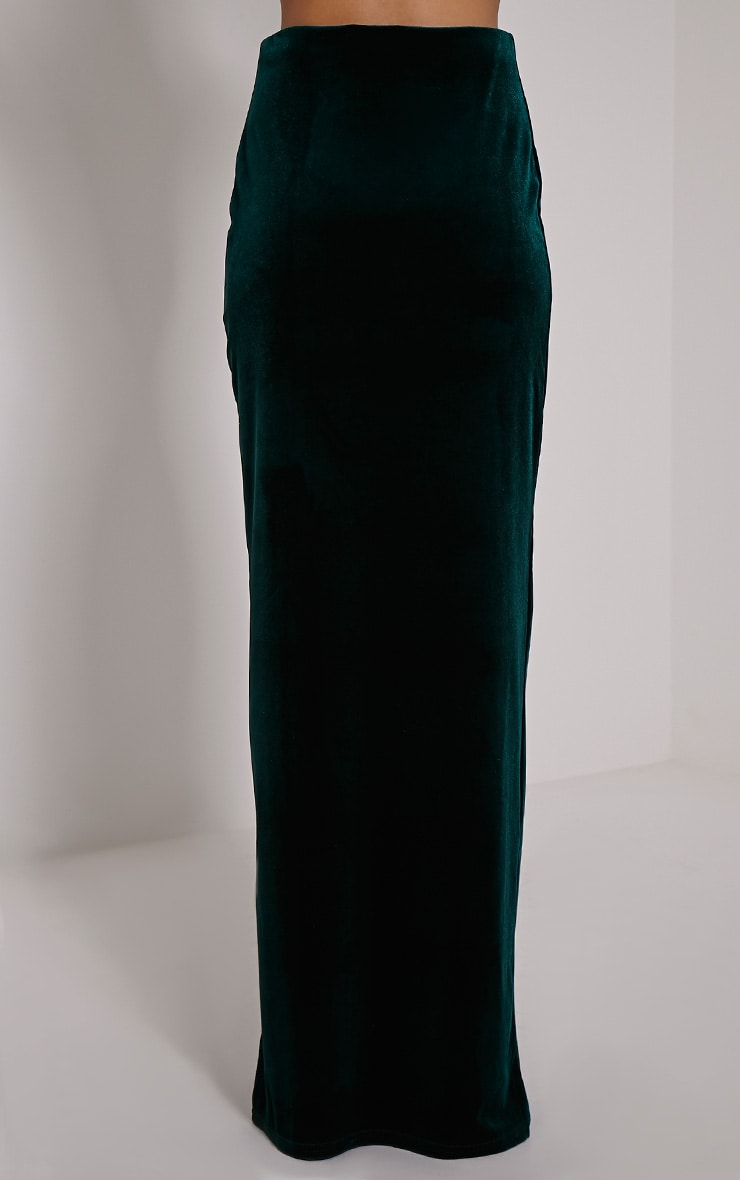 Caitlin Bottle Green Velvet Side Split Maxi Skirt 4