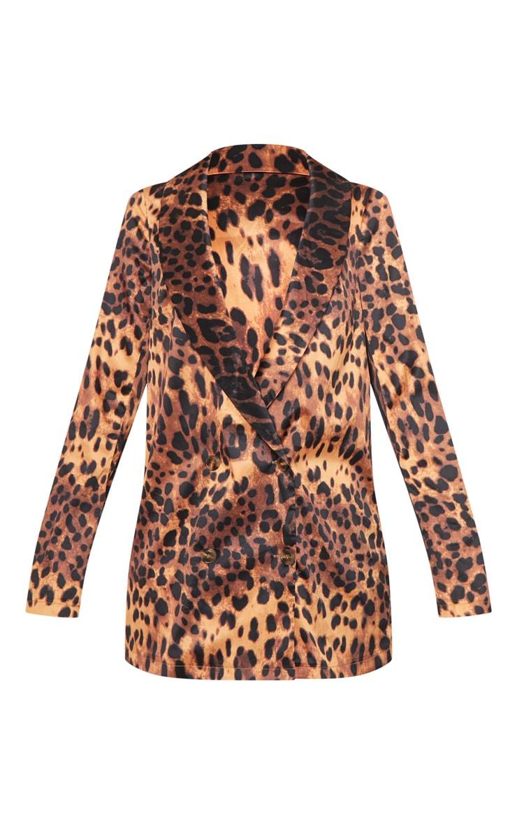 Tan Satin Leopard Woven Blazer  3