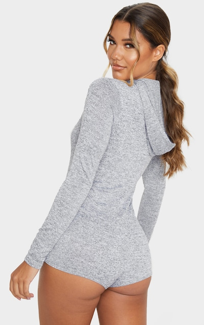 Grey Hooded Knitted Romper