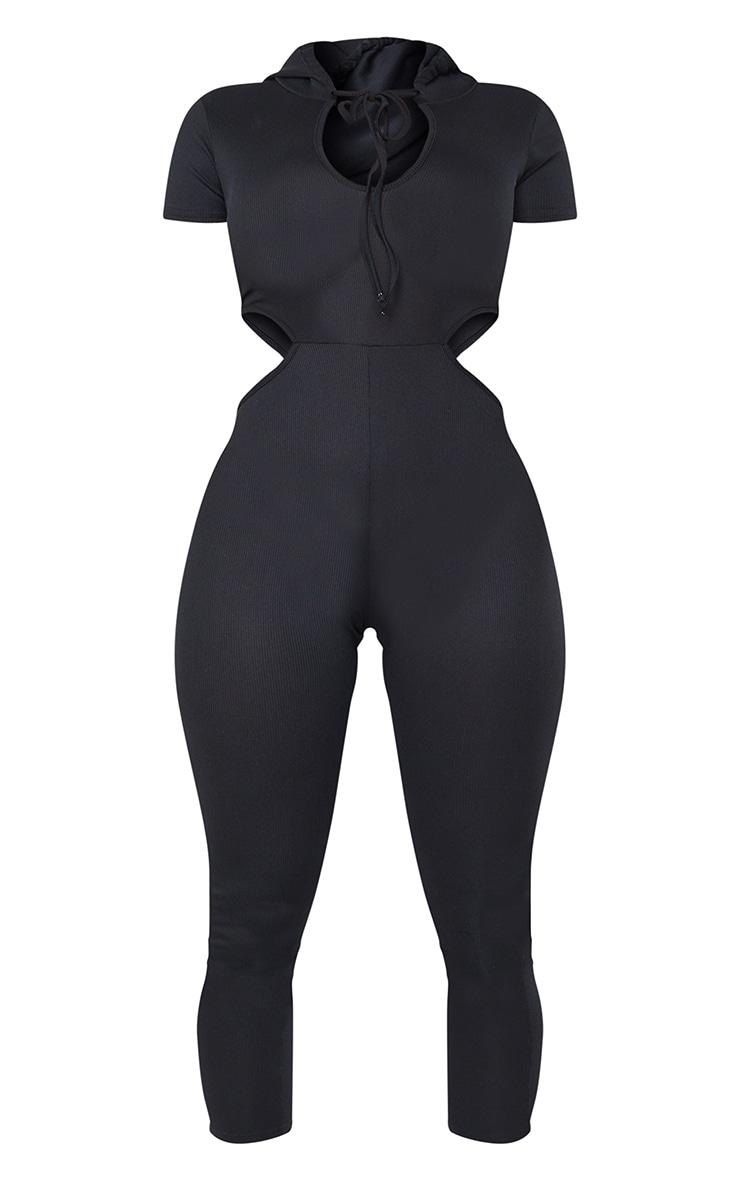Shape Black Rib Cut Out Side Hooded Jumpsuit 5