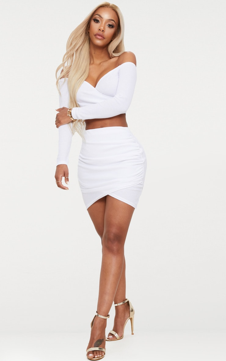 Shape White Ribbed Bodycon Skirt 5