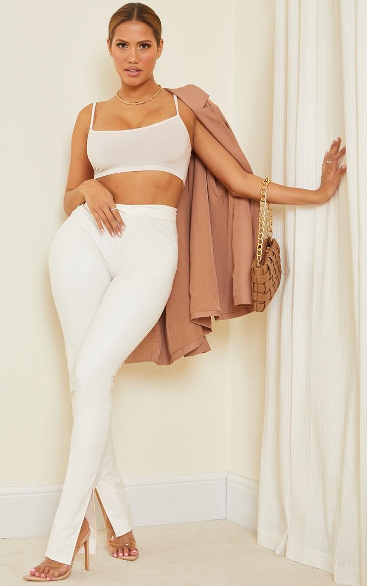 Shape Cream PU V Front Ruched Bum Split Hem Trousers 1