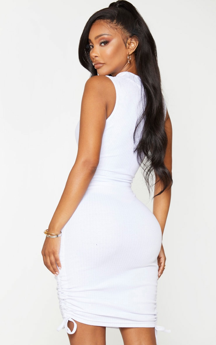 Shape White Thick Rib Ruched Side Sleeveless Bodycon Dress 3