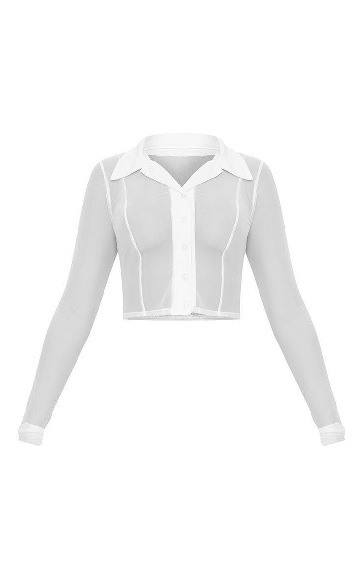 White Sheer Mesh Long Sleeve Crop Shirt  3
