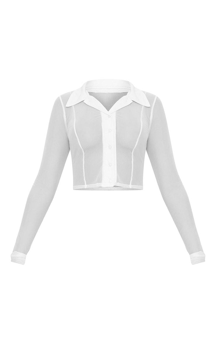 White Sheer Mesh Long Sleeve Crop Shirt 3