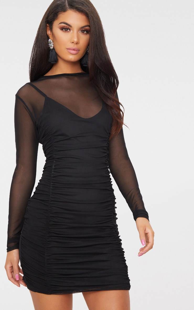 Black Mesh Ruched Long Sleeve High Neck Bodycon Dress 1