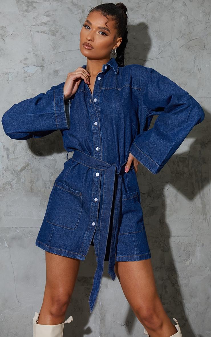 Robe en jean bleu moyennement délavée à manches cloches 1