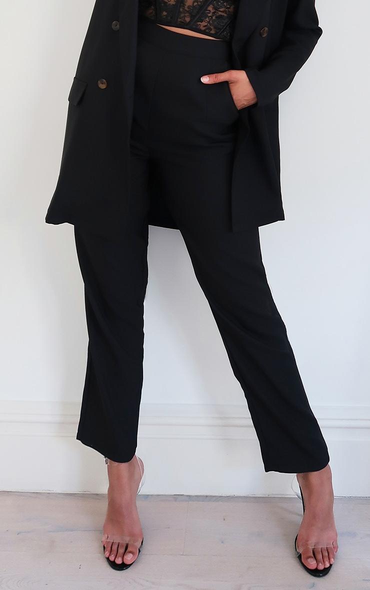 Black Woven Straight Leg Trousers 2