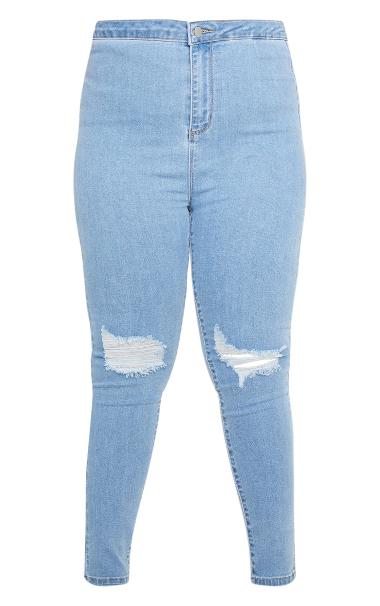 PRETTYLITTLETHING Plus Light Wash Knee Rip Disco Skinny Jean 3