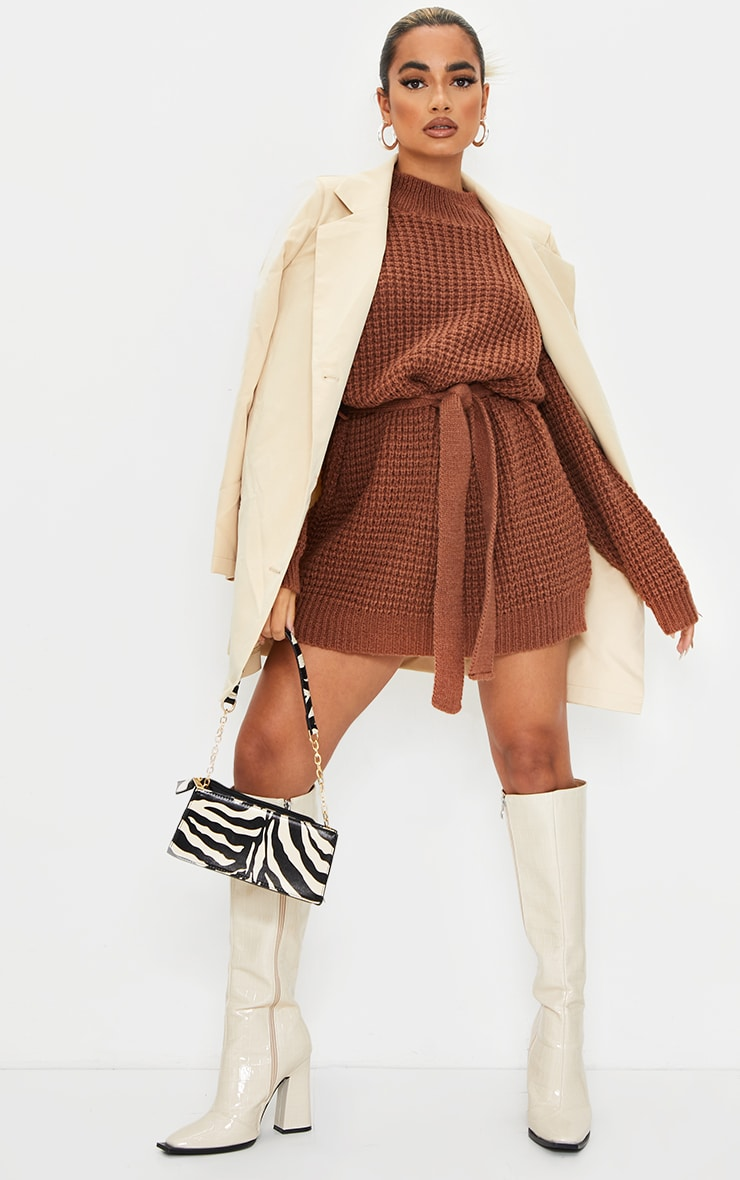 Petite Chocolate Touch Belted Knitted Jumper Dress 3