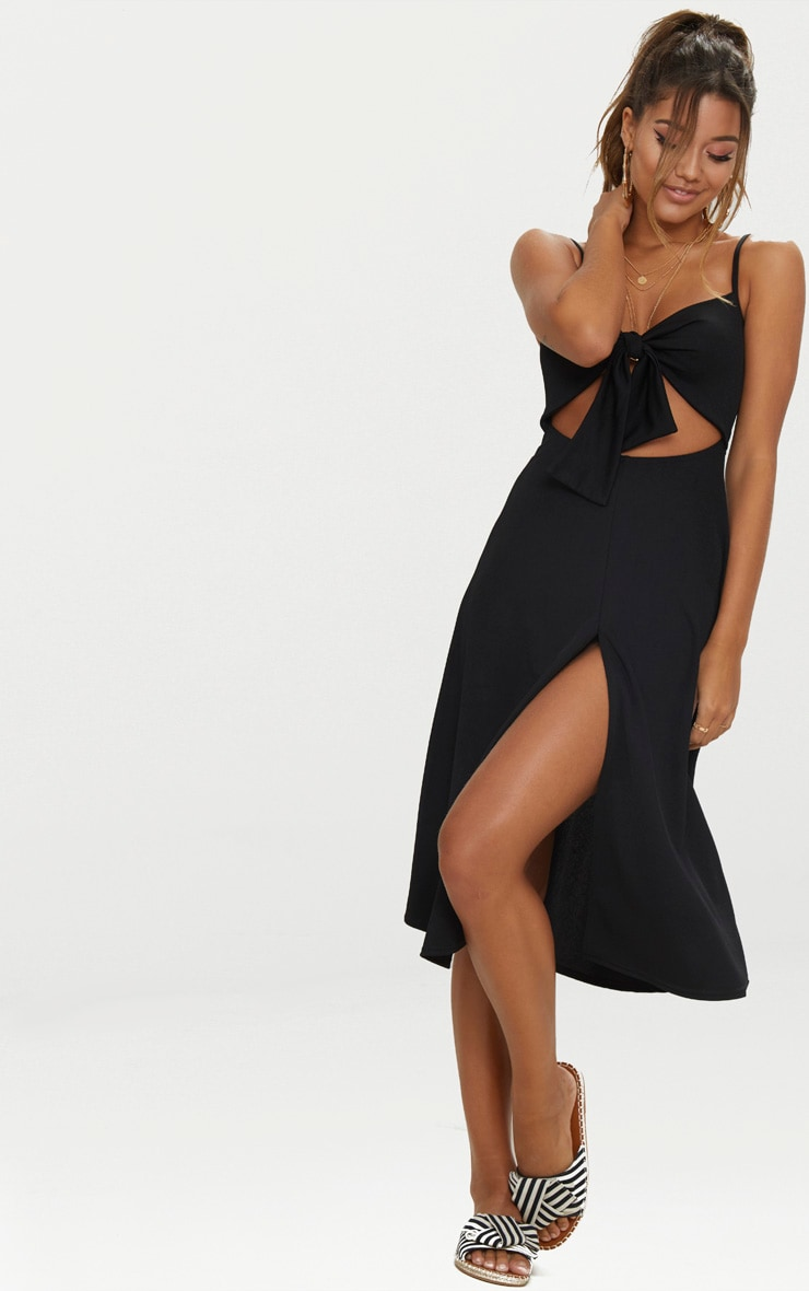 Black Tie Front Strappy Swing Dress 1
