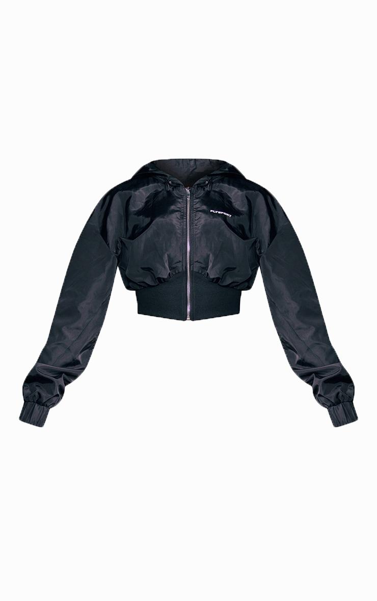PRETTYLITTLETHING Black Sport Crop Windbreaker 4