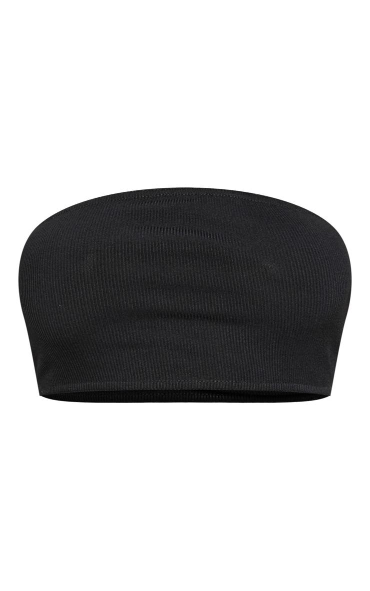 Crop top bandeau côtelé basique noir 3