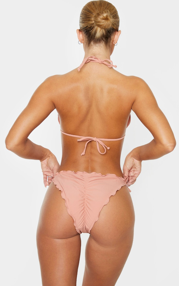 Clay Pink Frill Edge Ruched Back Bikini Bottoms 4