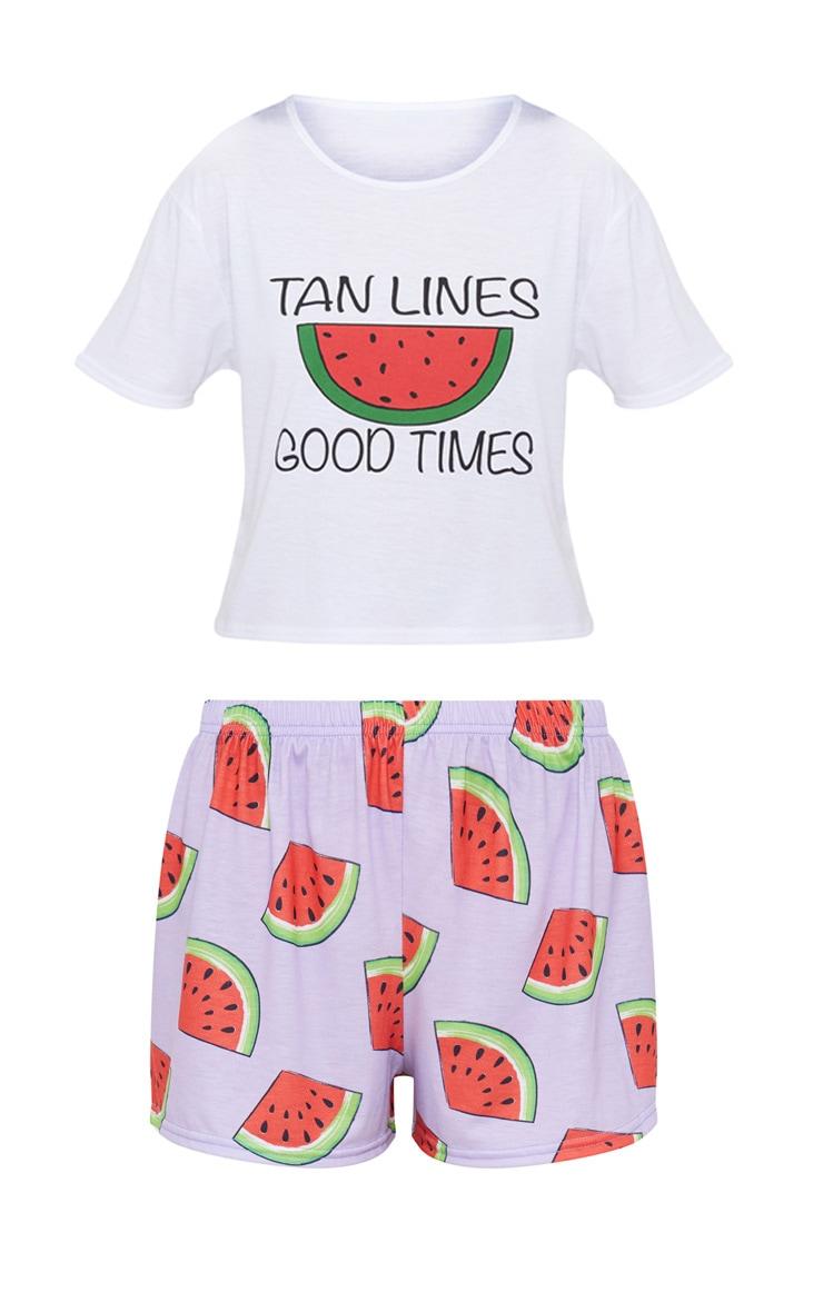 White Tan Lines Good Times Short PJ Set 3
