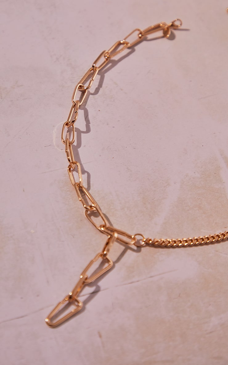 Gold Curb Mixed Chain Lariat Necklace 3