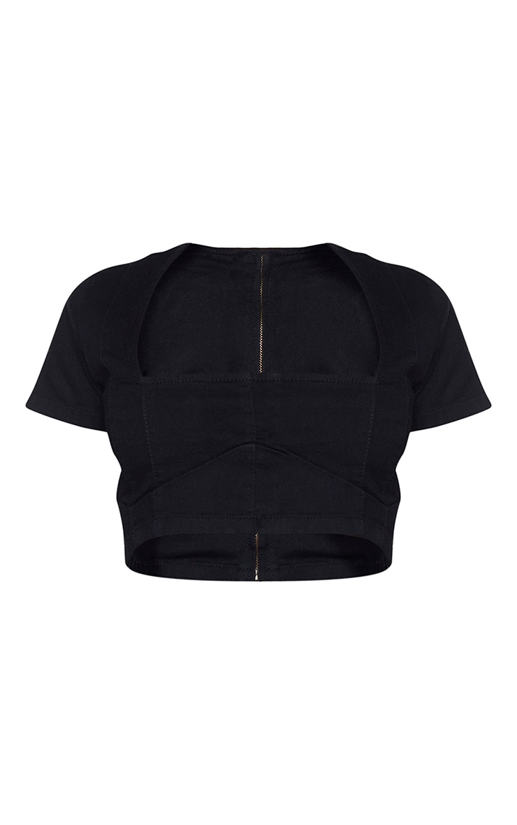 Shape Black Denim Seam Detail Underbust Crop Top 5