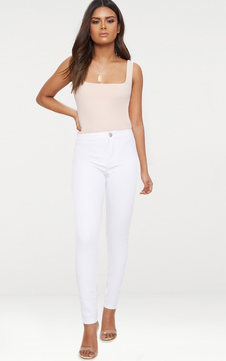 Petite White High Rise Skinny Jeans  1
