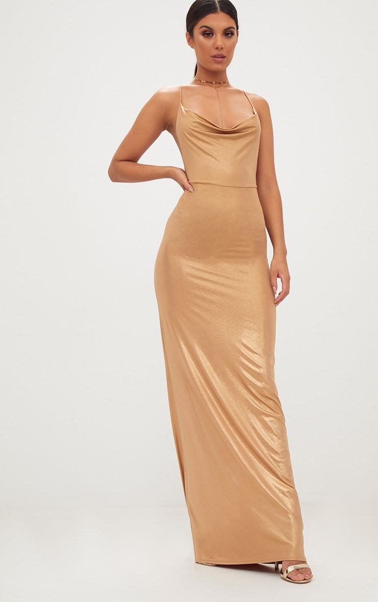 Gold Metallic Ruched Back Cowl Neck Maxi Dress