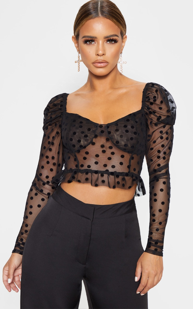 Petite Black Polka Dot Mesh Long Sleeve Top  1