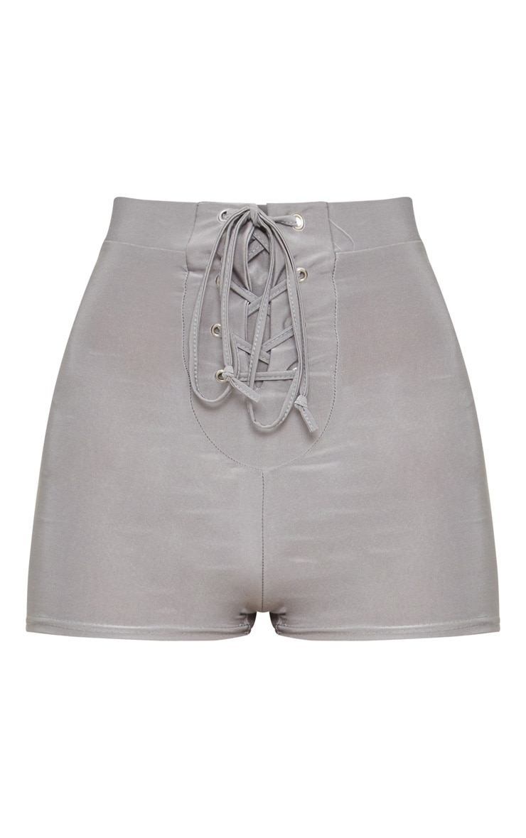 Grey Disco Lace Up Front Hot Pants  3