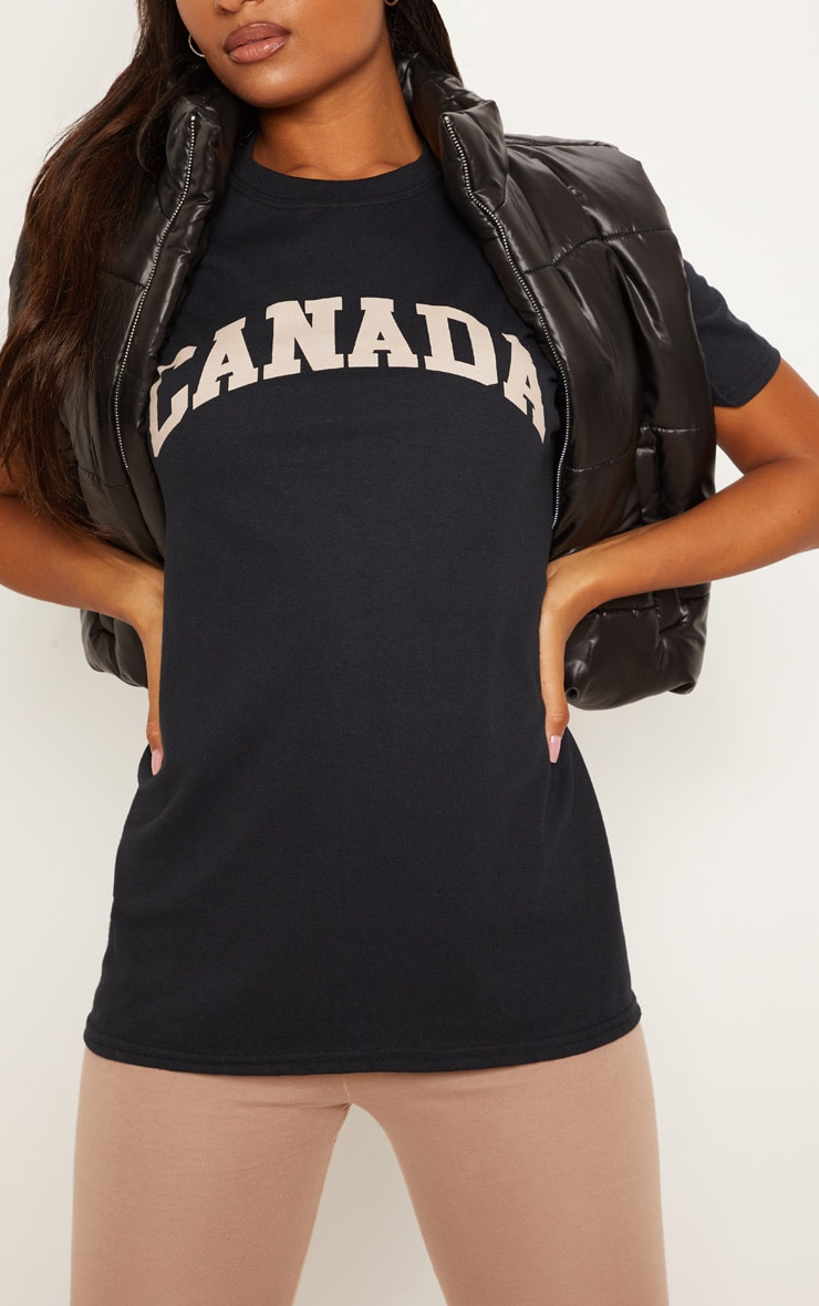 Black Canada Slogan Oversized T shirt 5