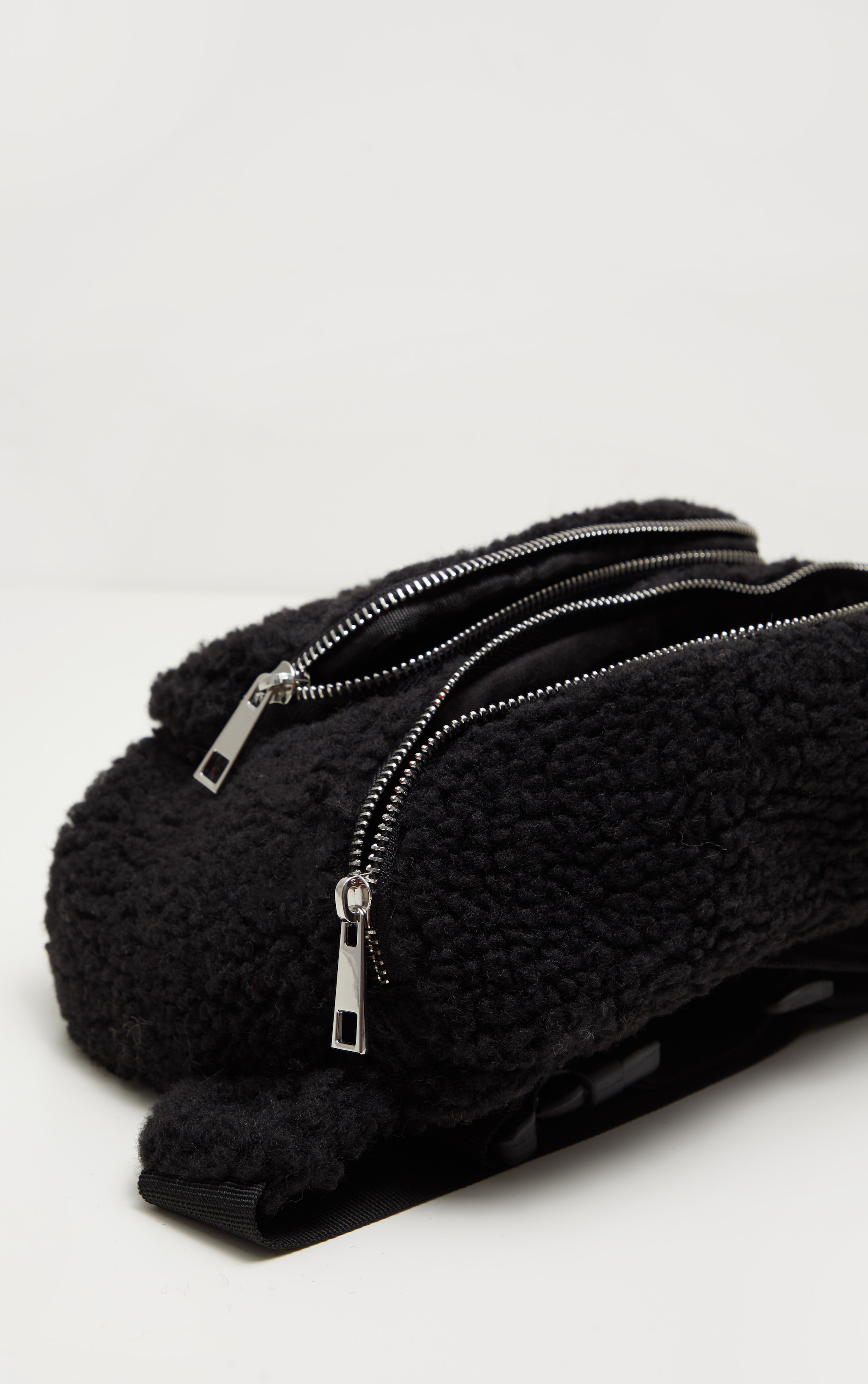 Black Faux Shearling Bum Bag 4