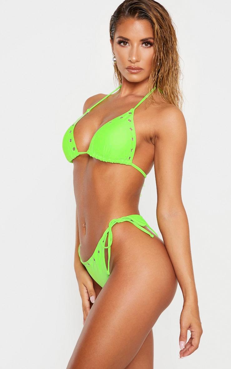 Lime Eyelet Hem Tie Side Bikini Bottom 2