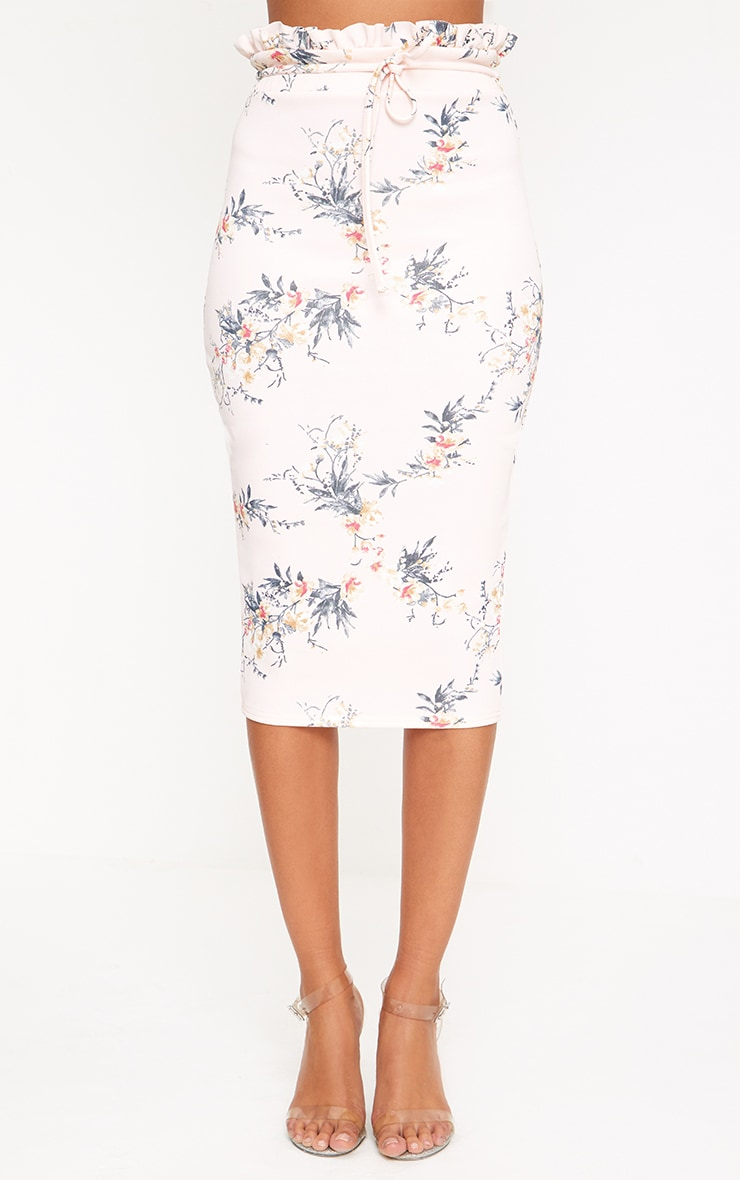 Light Pink Floral Print Paperbag Waist Midi Skirt 2